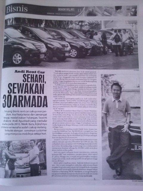 Andi Rent Car Sewakan 30 Armada perhari. Hotline : 081318642003
